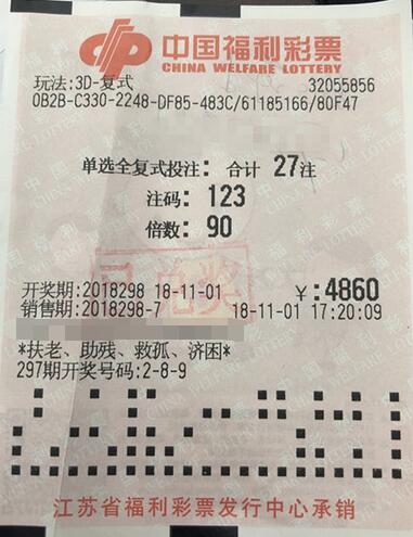 福彩3d第2018298期倍投中奖票样