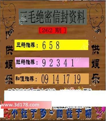 三毛绝密信封资料3d第2016262期推荐三码:658