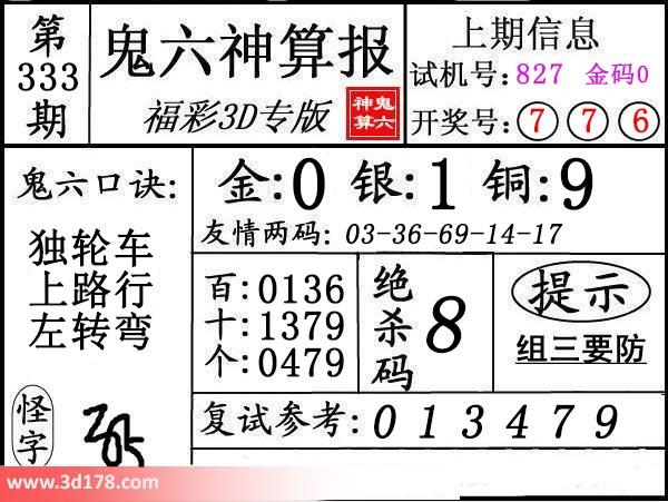 3d鬼六神算报第2016333期复试参考:013479