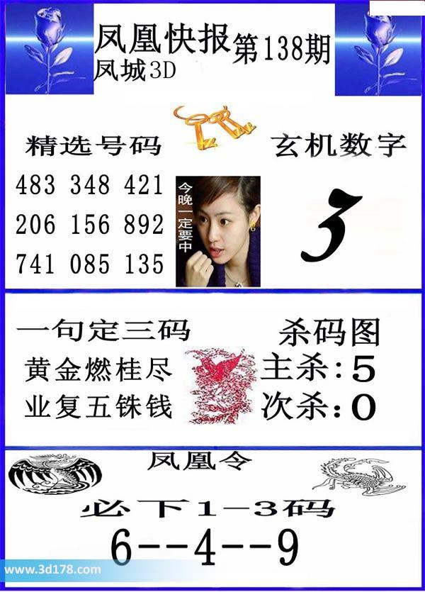 3d凤凰快报第2017138期推荐主杀:5