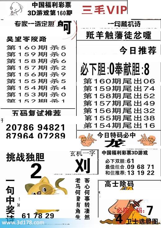 三毛图库3d第2017160期今日特码必中:龙