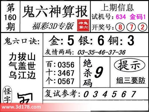 鬼六神算报3d第2017160期推荐金胆:5