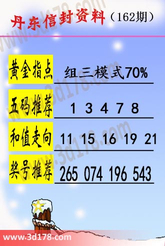 丹东信封资料图3d第2017162期五码推荐:13478