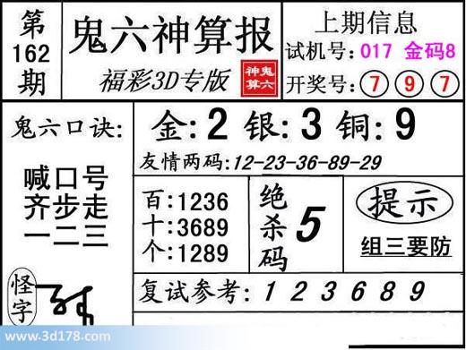 鬼六神算报3d第2017162期推荐绝杀码:5