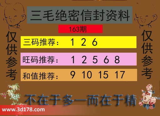 3d第2017163期三毛绝密信封资料三码推荐:126