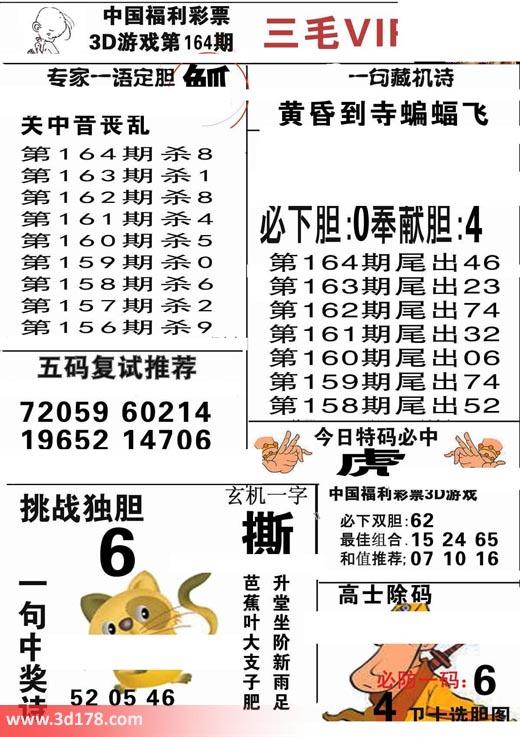 三毛图库3d第2017164期玄机一字:撕