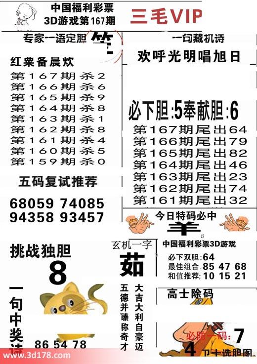 三毛图库3d第2017167期必下胆:5