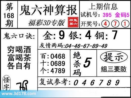 鬼六神算报3d第2017168期推荐:绝杀5
