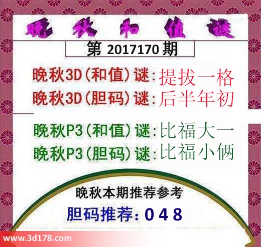 3d红五晚秋图第2017170期胆码推荐:048