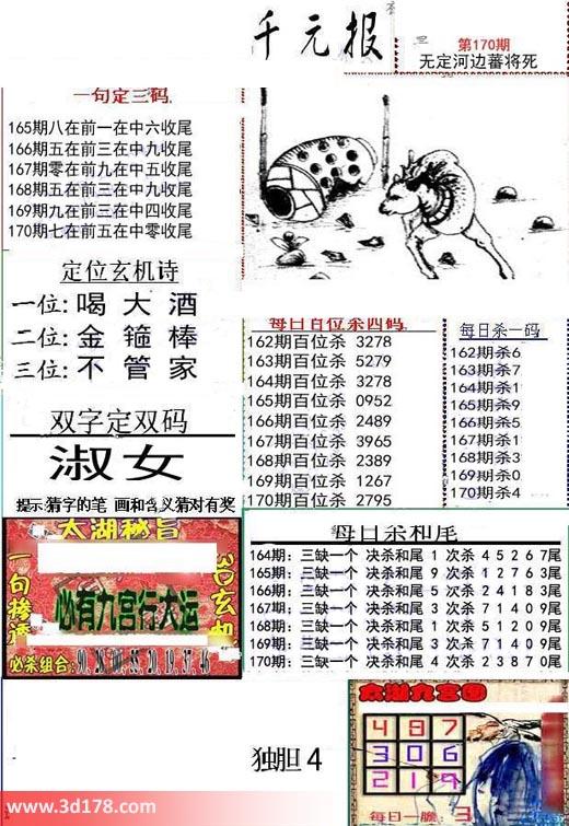 布衣千元报3d第2017170期每日百位杀四码:2795