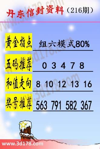 丹东信封资料图3d第17216期五码推荐:03478