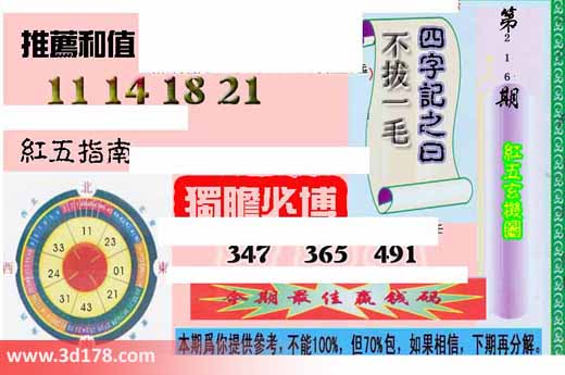 3d第2017216期红五玄机图独胆必博:347