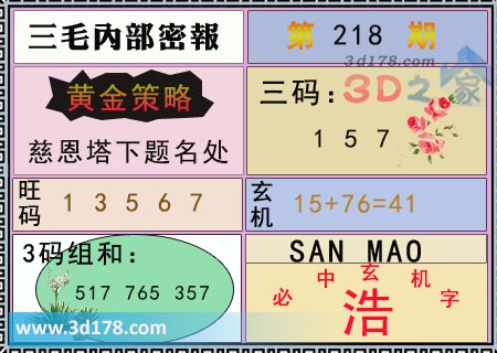 第2017218期3d三毛内部密报图三码推荐:157