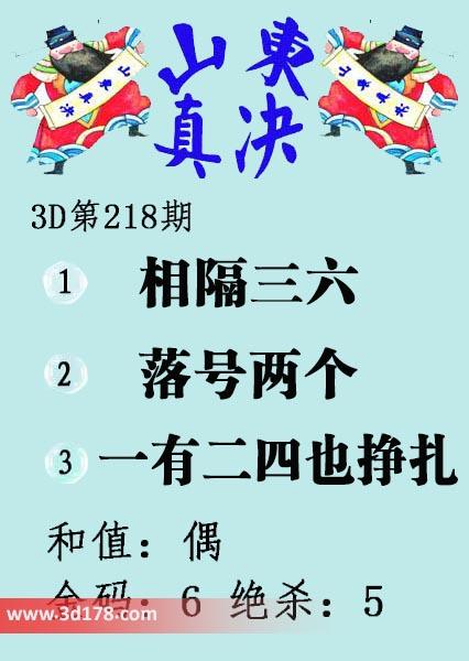 3d第2017218期山东真诀图推荐金码:6