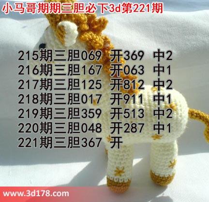 小马哥3d第17221期预测分析推荐:三胆367