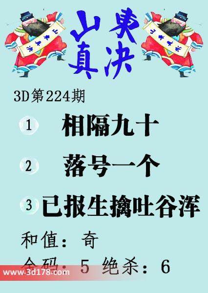 3d第2017224期山东真诀图推荐金码:5