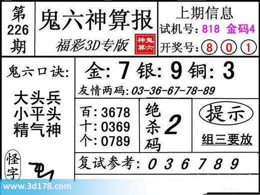 鬼六神算报3d第2017226期推荐:金胆7