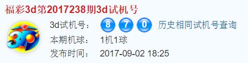 3d之家福彩3d试机号开奖号