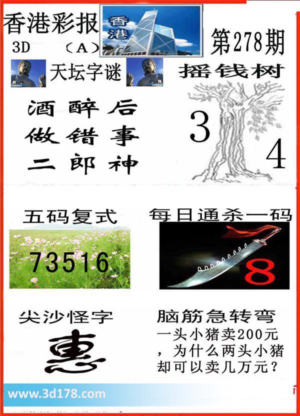 香港彩报3d第2017278期五码复式:13567