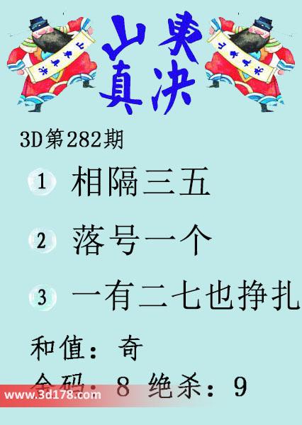 3d第2017282期山东真诀图推荐金码:8