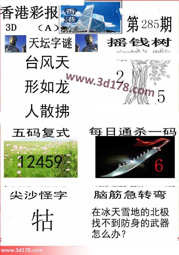 香港彩报3d第2017285期五码复式:12459
