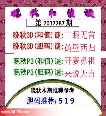 3d红五晚秋图第2017287期胆码推荐:5 1 9