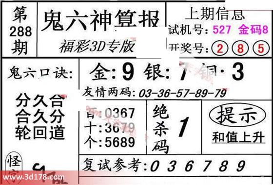 鬼六神算报3d第2017288期绝杀码:1