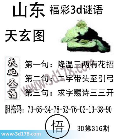 3d第2017316期丹东天玄天地圣语:降温三两有花招