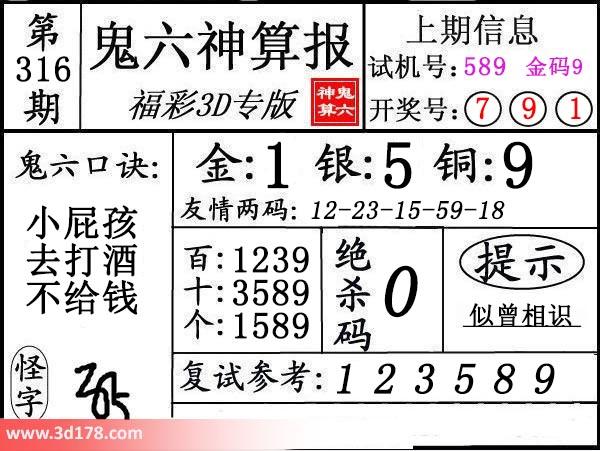 鬼六神算报3d第2017316期推荐绝杀码:0
