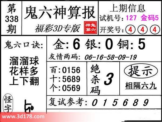 鬼六神算报3d第2017338期复式参考:015689