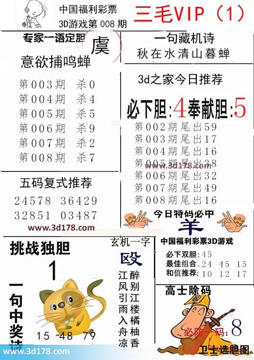 三毛图库3d第2018008期今日特码必中:羊