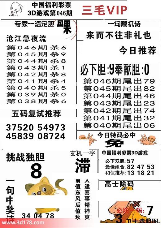 三毛图库3d第2018046期必下胆:9