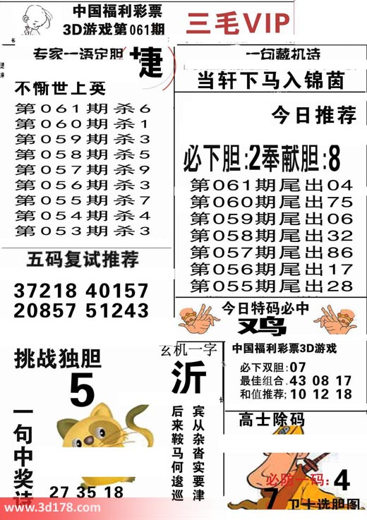 三毛图库3d第2018061期必下胆:2