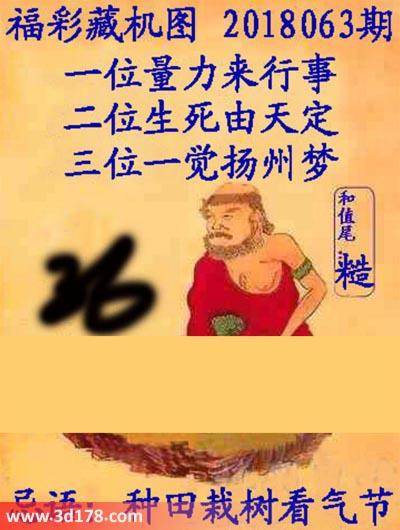 第2018063期3d正版藏机图推荐三位一觉扬州梦