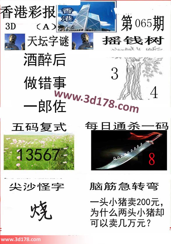 香港彩报3d第2018065期五码复式:13567