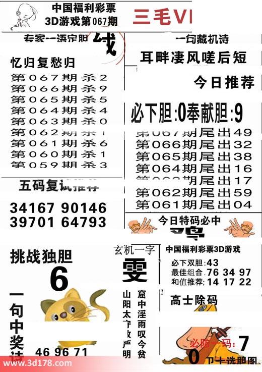 三毛图库3d第2018067期挑战独胆:6