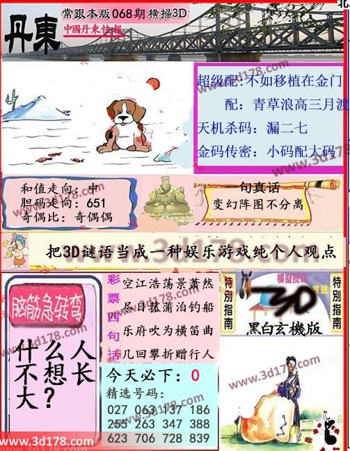 3d第2018068期丹东快报天机杀码:漏二七