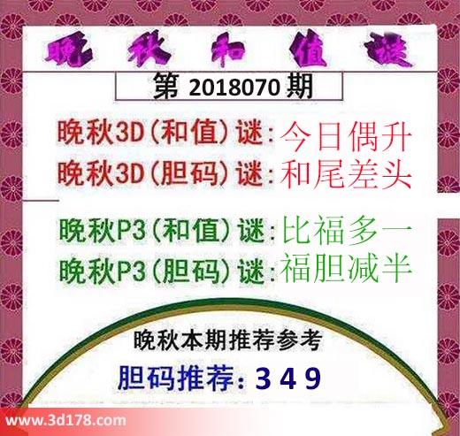 3d红五晚秋图第2018070期推荐和值谜:今日偶升