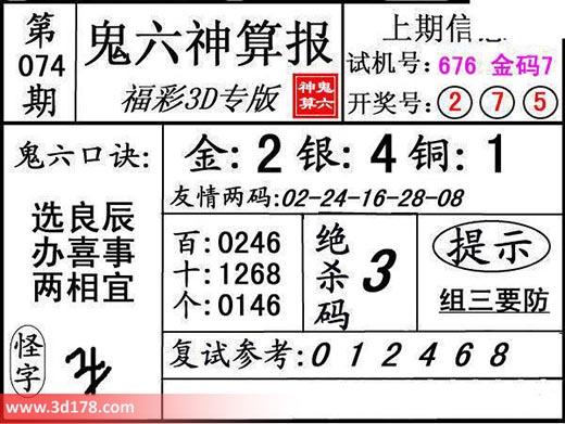 鬼六神算报3d第2018074期推荐金胆:2