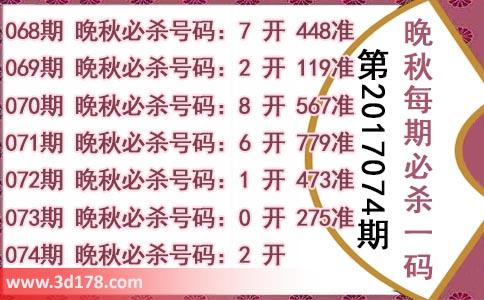 3d第2018074期晚秋杀码图:杀一码2