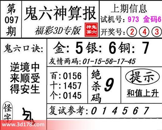 鬼六神算报3d第2018097期推荐绝杀码:9