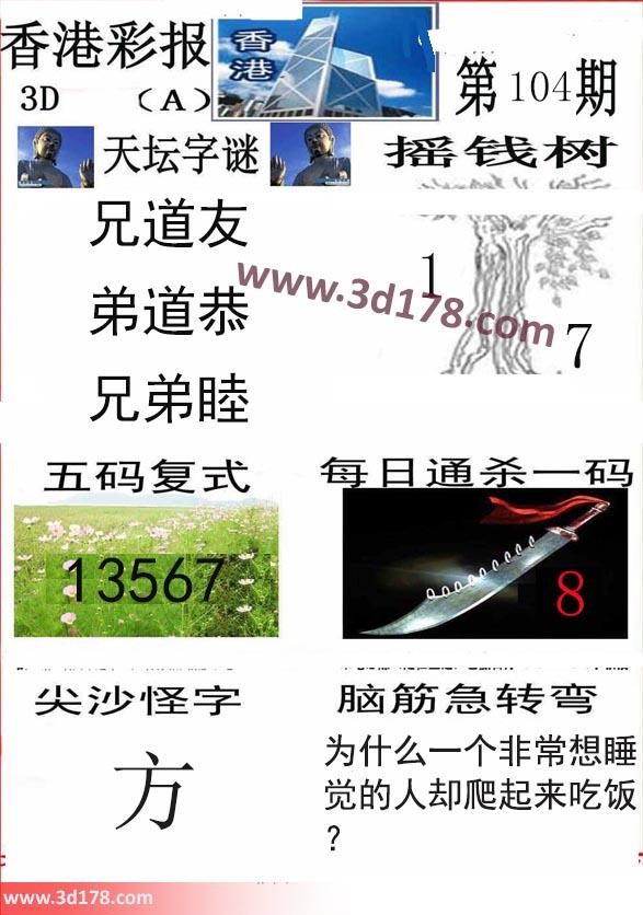 香港彩报3d第2018104期摇钱树:1 7