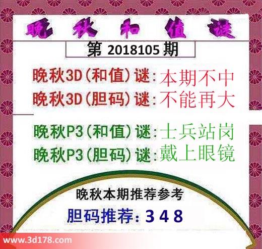 3d红五晚秋图第2018105期胆码推荐:348