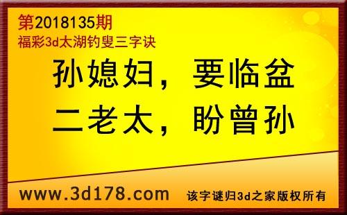 3d第2018135期太湖图库解字谜:孙媳妇,要临盆