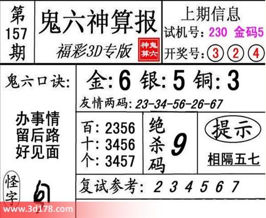 鬼六神算报3d第2018157期推荐金胆:6
