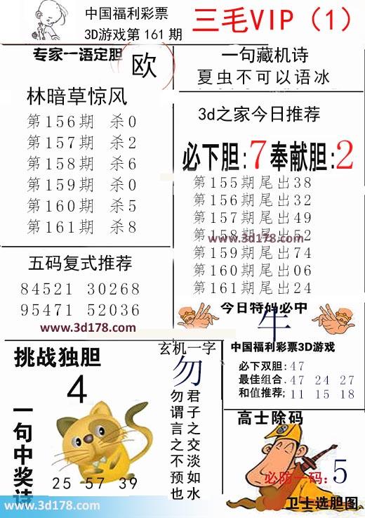 三毛图库3d第2018161期玄机一字:勿