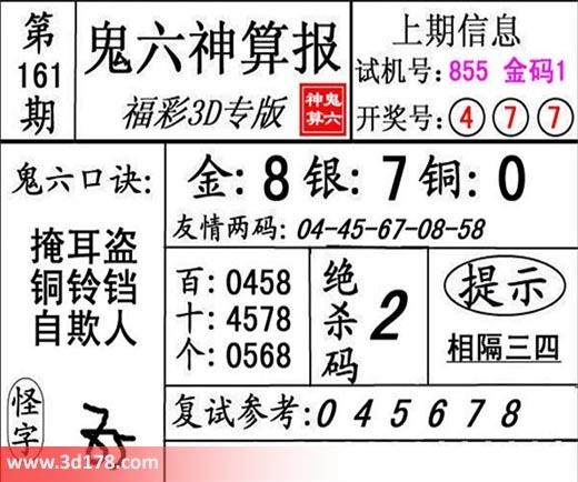 鬼六神算报3d第2018161期推荐绝杀码:2