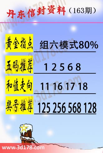 丹东信封资料图3d第18163期黄金指点:组六模式80%