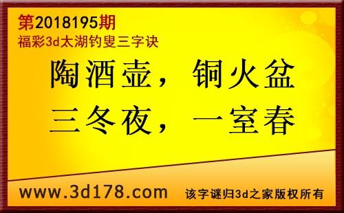 3d第2018195期太湖图库解字谜:陶酒壶,铜火盆