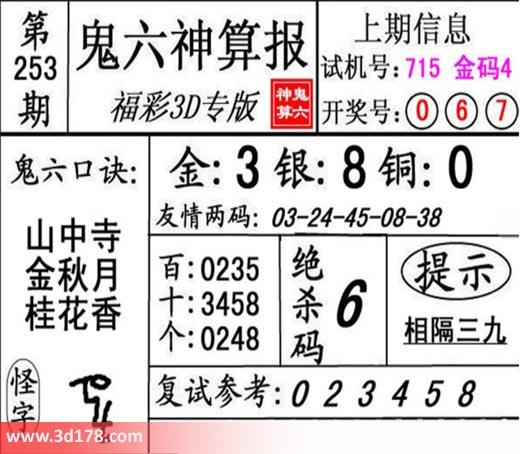 鬼六神算报3d第2018253期推荐绝杀码:6